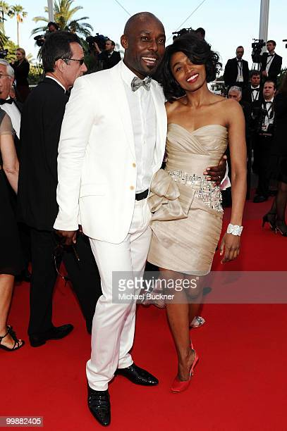 Jimmy JeanLouis and wife Evelyn Stock attend the Of Gods And Men Premiere at the Palais des Festivals during the 63rd Annual Cannes Film Festival on...