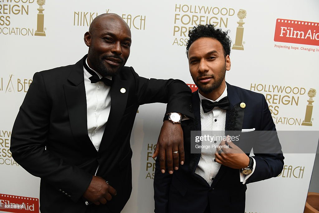 Jimmy Jean-Louis and Yassine Azzouz attend The Hollywood Foreign Press Association Honour Filmaid International party during The 69th Annual Cannes Film Festival on May 13, 2016 in Cannes, France.