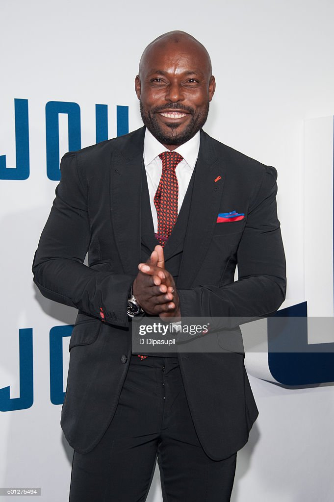 Jimmy Jean-Louis attends the 'Joy' New York premiere at the Ziegfeld Theater on December 13, 2015 in New York City.