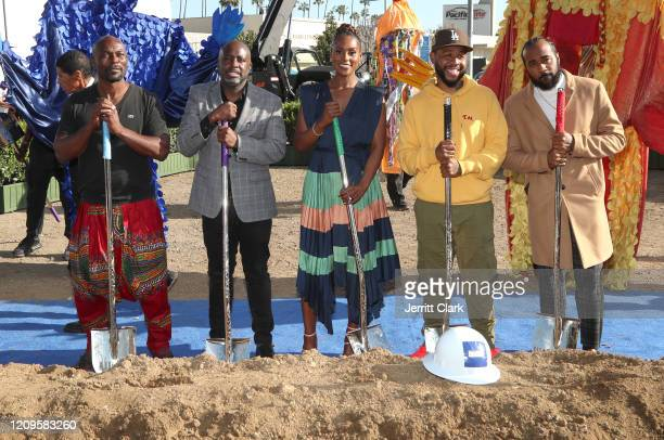 Jimmy JeanLouis Crenshaw Councilmember Marqueece HarrisDawson Issa Rae Terrace Martin and Problem participate in a ground breaking ceremony during...