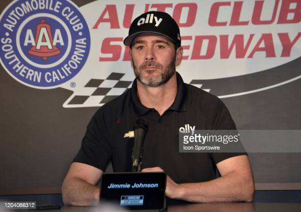 Jimmy Johnson Ally Chevrolet Hendrick Motorsports meets with the news media at the NASCAR Cup Series Auto Club 400 on February 28 2020 at Auto Club...