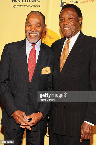 Jimmy Johnson and hall of fame inductee Rafer Johnson arrive at the 2009 California Hall of Fame induction ceremony at The California Museum on...