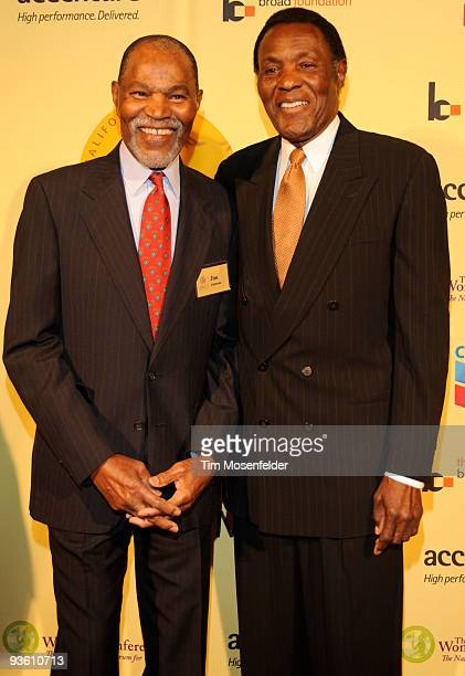 Jimmy Johnson and Rafer Johnson attend the 2009 California Hall of Fame Inductee Ceremony at the California Musuem on December 1 2009 in Sacramento...