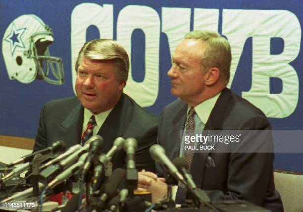 Jimmy Johnson announces his resignation as head coach of the world champion Dallas Cowboys football team at a press conference at the team's Valley...