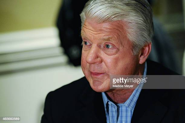 Jimmy Johnson former NFL coach and current NFL analyst for FOX Sports answers questions from the press during the FOX Sports media availablility in...