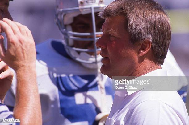 Jimmy Johnson head coach of the Dallas Cowboys circa 1989 against the Los Angeles Rams at Anaheim Stadium in Anaheim, California.