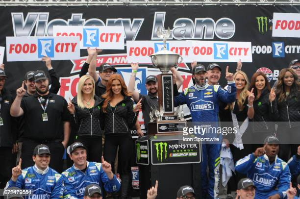 Jimmy Johnson Hendrick Motorsports Lowe's Chevrolet SS in Victory Lane after winning the Monster Energy Cup Series Food City 500 on April 24 at...