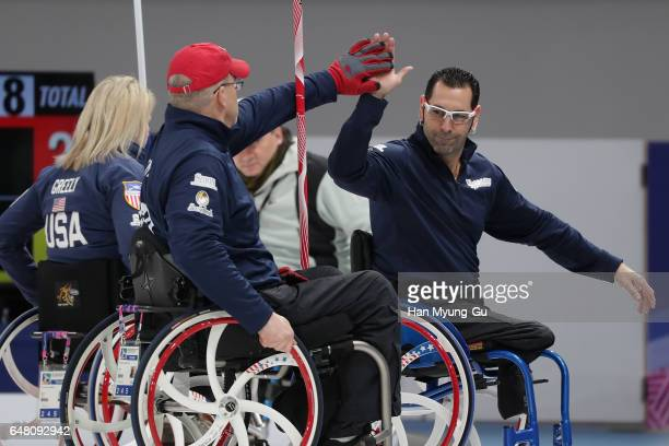 Jimmy Joseph from USA reacts during the World Wheelchair Curling Championship 2017 test event for PyeongChang 2018 Winter Olympic Games at Gangneung...