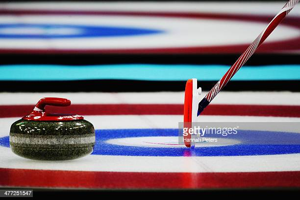 Jimmy Joseph of USA places his mark during the wheelchair curling mixed round robin match between Korea and USA at the Ice Cube Curling Center on...