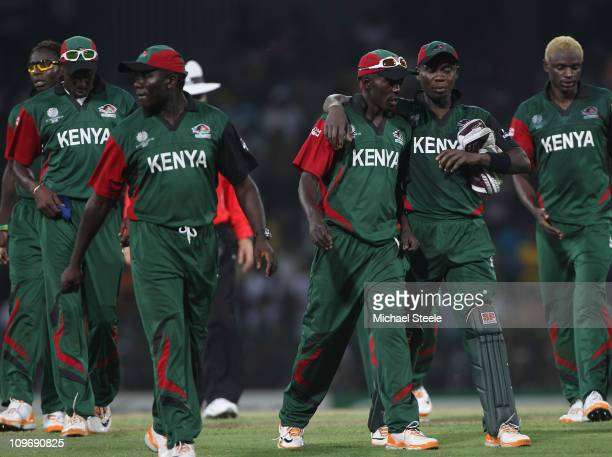Jimmy Kamande captain of Kenya is consoled by Morris Ouma after his sides nine wicket defeat during the Kenya v Sri Lanka 2011 ICC World Cup Group A...