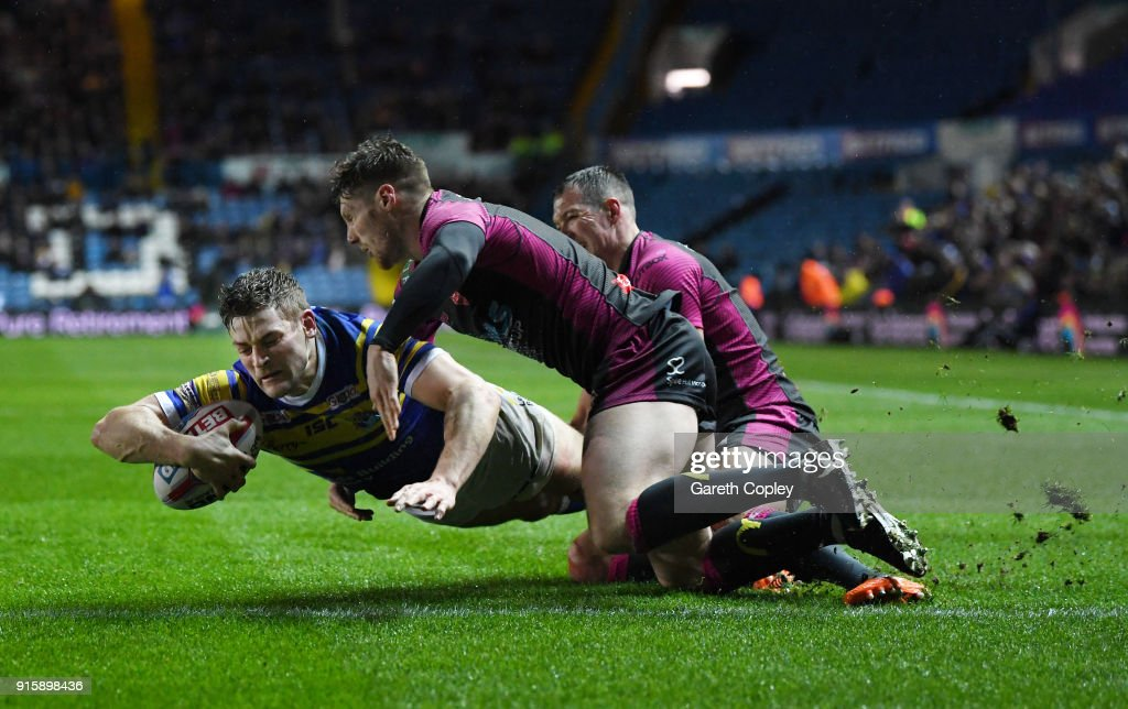 Jimmy Keinhorst of Leeds Rhinos scores a second half try during the Betfred Super League match between Leeds Rhinos and Hull KR at Elland Road on February 8, 2018 in Leeds, England.