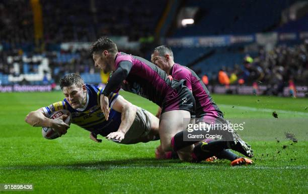 Jimmy Keinhorst of Leeds Rhinos scores a second half try during the Betfred Super League match between Leeds Rhinos and Hull KR at Elland Road on...