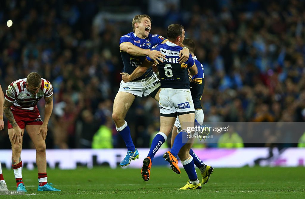Jimmy Keinhorst of the Leeds Rhinos celebrates at the final whistle with team mate and man of the match Danny McGuire during the First Utility Super League Grand Final between Wigan Warriors and Leeds Rhinos at Old Trafford on October 10, 2015 in Manchester, England.