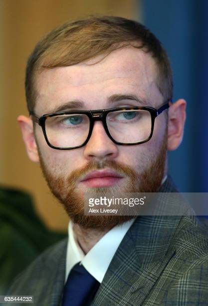 Jimmy Kelly faces the media during a boxing press conference at City Academy on February 15 2017 in Manchester England