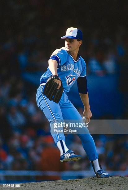 Jimmy Key of the Toronto Blue Jays pitches against the Detroit Tigers during a Major League Baseball game circa 1989 at Tiger Stadium in Detroit...