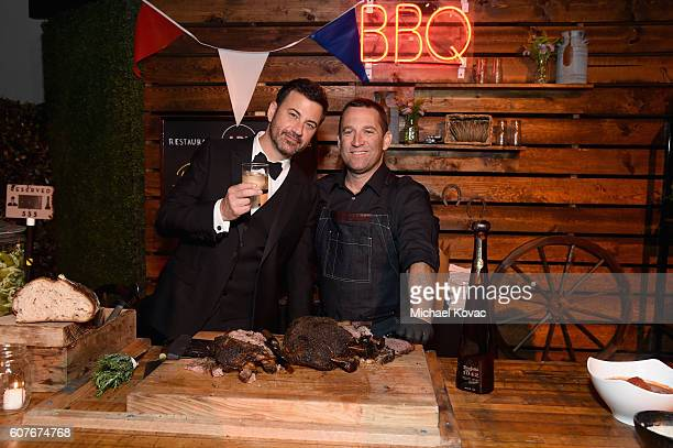 Jimmy Kimmel and Chef Adam Perry Lang enjoy Don Julio 1942 at his postshow party at The Lot on September 18 2016 in West Hollywood California
