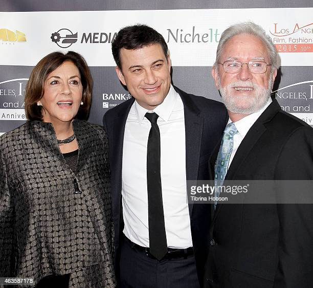 Jimmy Kimmel and his parents Joan Kimmel and Jim Kimmel attend the Los Angeles Italia opening gala at TCL Chinese 6 Theatres on February 15 2015 in...