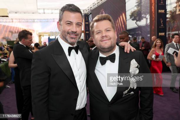 Jimmy Kimmel and James Corden walk the red carpet during the 71st Annual Primetime Emmy Awards on September 22 2019 in Los Angeles California