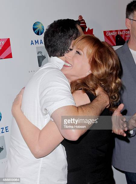 Jimmy Kimmel and Kathy Griffin attend the premiere of 'Being Canadian' at Crest Westwood on September 17 2015 in Westwood California