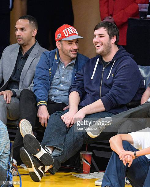 Jimmy Kimmel and Kevin Kimmel attend a basketball game between the Chicago Bulls and the Los Angeles Lakers at Staples Center on November 20 2016 in...