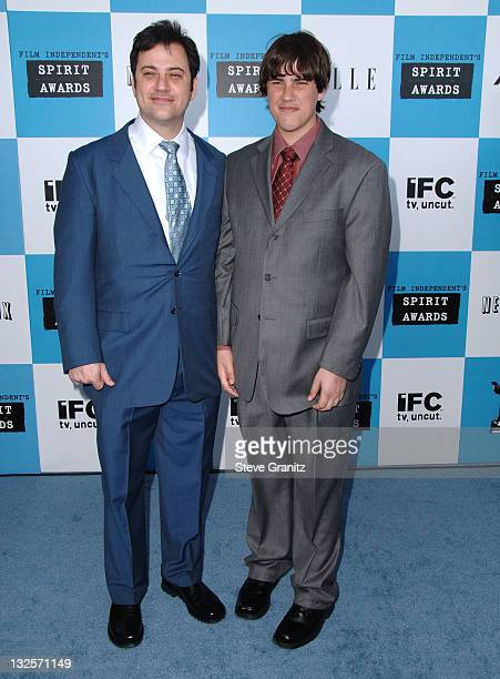 Jimmy Kimmel and Kevin Kimmel during 2007 Film Independent's Spirit Awards Arrivals at Santa Monica Pier in Santa Monica California United States