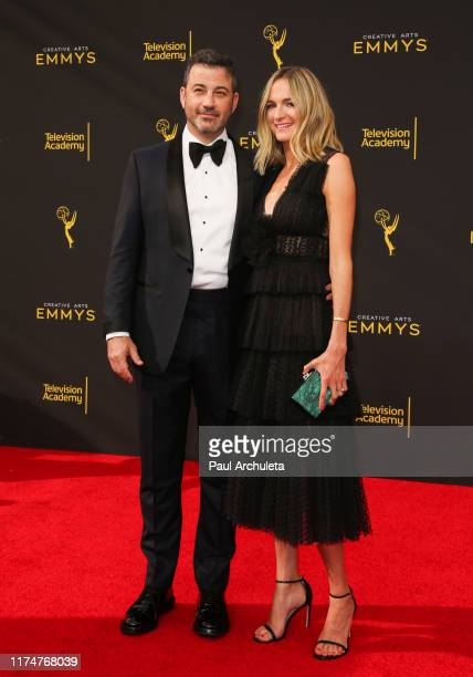 Jimmy Kimmel and Molly McNearney attend the 2019 Creative Arts Emmy Awards on September 14, 2019 in Los Angeles, California.
