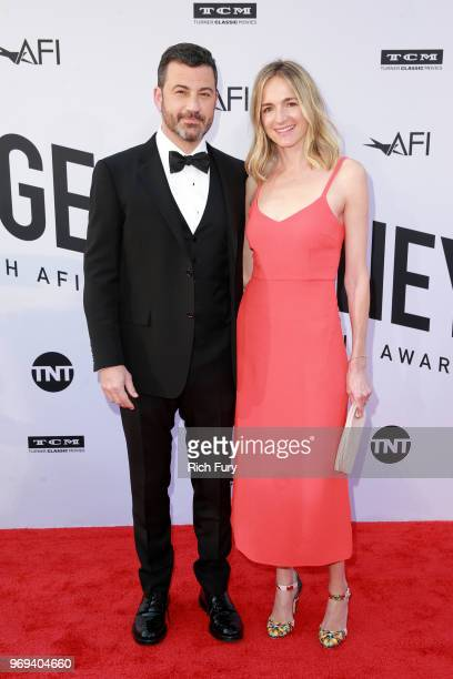 Jimmy Kimmel and Molly McNearney attend the American Film Institute's 46th Life Achievement Award Gala Tribute to George Clooney at Dolby Theatre on...