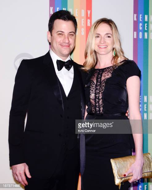Jimmy Kimmel and Molly McNearney pose for photographers during the 35th Kennedy Center Honors at the Kennedy Center Hall of States on December 2 2012...
