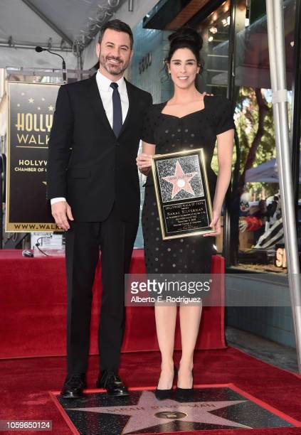Jimmy Kimmel and Sarah Silverman attend the ceremony honoring Sarah Silverman with a Star on the Hollywood Walk of Fame on November 9 2018 in...