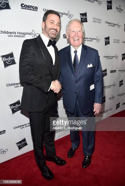 Jimmy Kimmel and Vin Scully attend the 2018 Children's Hospital Los Angeles 'From Paris With Love' Gala at LA Live on October 20 2018 in Los Angeles...