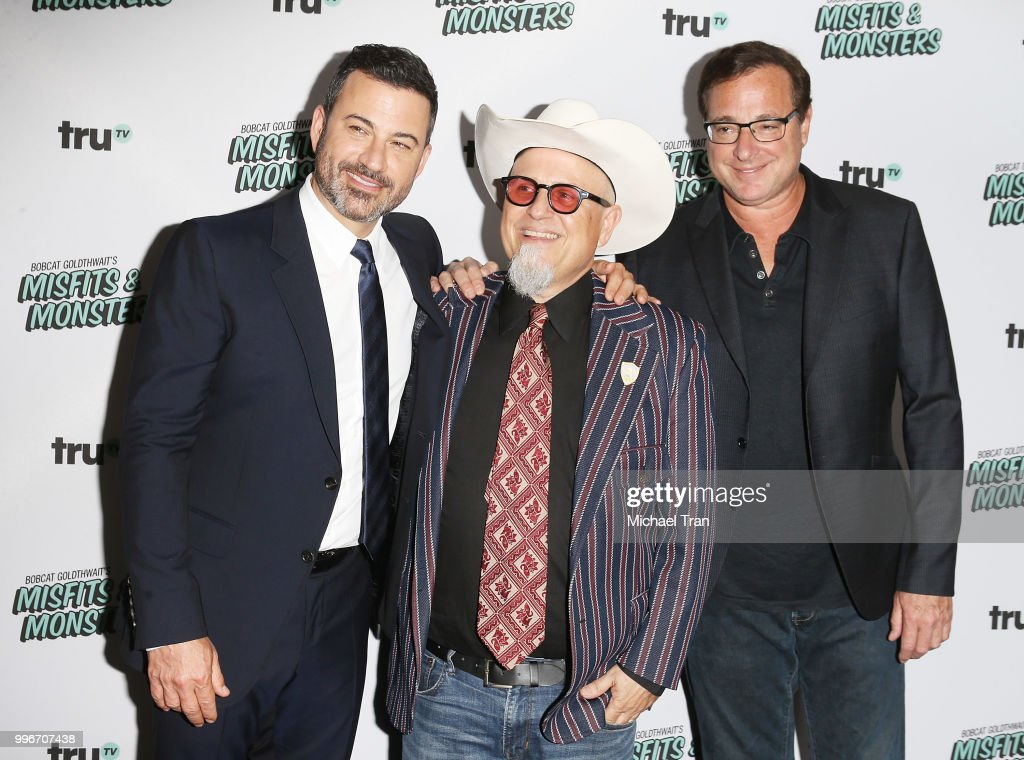 Jimmy Kimmel, Bobcat Goldthwait and Bob Saget attend the Los Angeles premiere of truTV's 'Bobcat Goldthwait's Misfits & Monsters' held at Hollywood Roosevelt Hotel on July 11, 2018 in Hollywood, California.