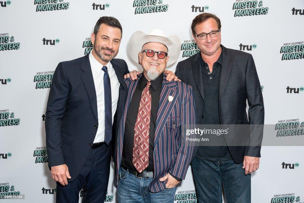 Jimmy Kimmel, Bobcat Goldthwait and Bob Saget attend the premiere of truTV's 'Bobcat Goldthwait's Misfits & Monsters' at Hollywood Roosevelt Hotel on July 11, 2018 in Hollywood, California.