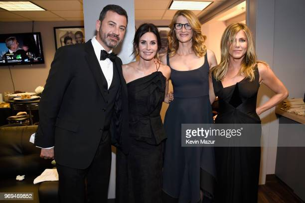 Jimmy Kimmel Courteney Cox Laura Dern and Jennifer Aniston attend the American Film Institute's 46th Life Achievement Award Gala Tribute to George...