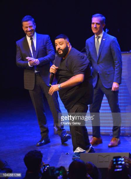 Jimmy Kimmel DJ Khaled and Los Angeles Mayor Eric Garcetti speak onstage at 1 Night $1 Million 10 States 100s Of Victories With Eric Garcetti Jimmy...