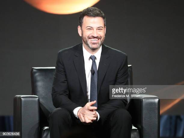 Jimmy Kimmel host and executive producer of Jimmy Kimmel Live and host of the 90th Oscars speaks onstage during the ABC Television/Disney portion of...