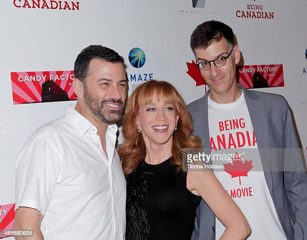 Jimmy Kimmel Kathy Griffin and Robert Cohen attend the premiere of 'Being Canadian' at Crest Westwood on September 17 2015 in Westwood California