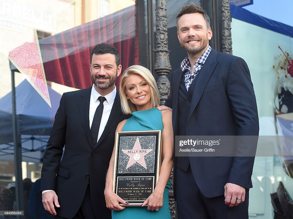 Jimmy Kimmel, Kelly Ripa and Joel McHale attend the ceremony honoring Kelly Ripa with a star on the Hollywood Walk of Fame on October 12, 2015 in Hollywood, California.