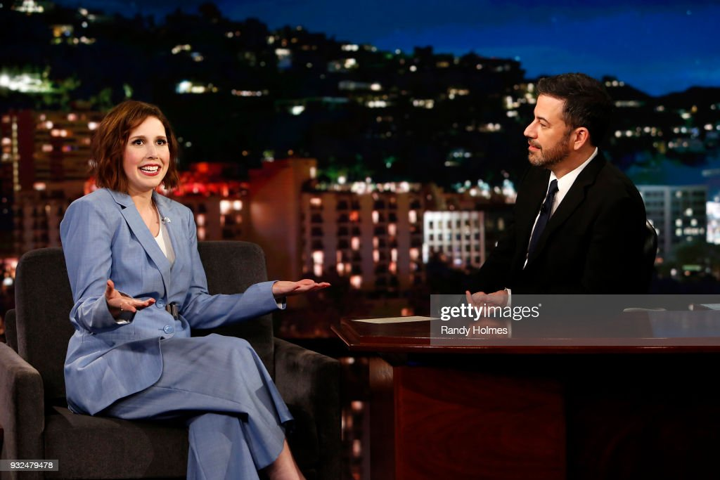 LIVE! - 'Jimmy Kimmel Live!' airs every weeknight at 11:35 p.m. EDT and features a diverse lineup of guests that include celebrities, athletes, musical acts, comedians and human interest subjects, along with comedy bits and a house band. The guests for Wednesday, March 14 included Will Forte ('The Last Man on Earth'), Vanessa Bayer, and musical guest The Dirty Heads. VANESSA