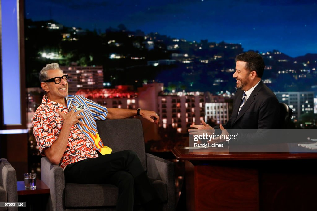 LIVE! - 'Jimmy Kimmel Live!' airs every weeknight at 11:35 p.m. EDT and features a diverse lineup of guests that include celebrities, athletes, musical acts, comedians and human interest subjects, along with comedy bits and a house band. The guests for Monday, June 18 included Jeff Goldblum ('Jurassic World: Fallen Kingdom'), Jermaine Fowler ('Sorry to Bother You'), and musical guest Granger Smith. JEFF