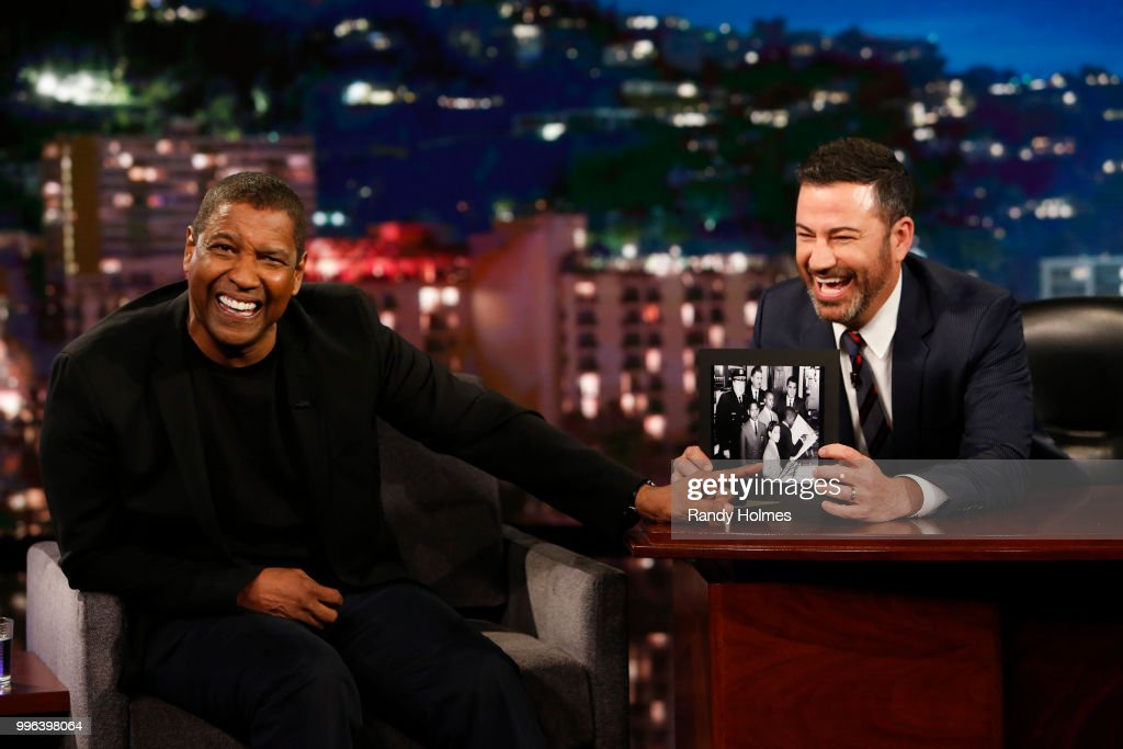 LIVE! - 'Jimmy Kimmel Live!' airs every weeknight at 11:35 p.m. EDT and features a diverse lineup of guests that include celebrities, athletes, musical acts, comedians and human interest subjects, along with comedy bits and a house band. The guests for Tuesday, July 10 included Denzel Washington ('Equalizer 2'), Bobcat Goldthwait ('Misfits & Monsters'), and musical guest Dawes. DENZEL