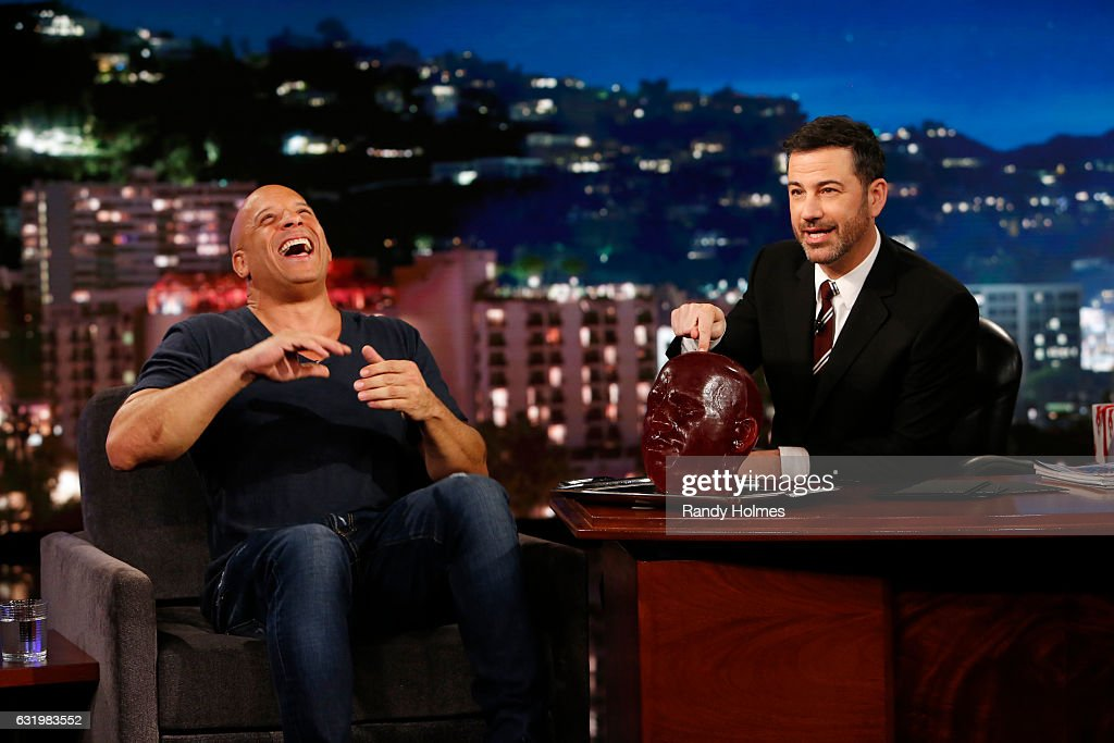 LIVE - 'Jimmy Kimmel Live' airs every weeknight at 11:35 p.m. EST and features a diverse lineup of guests that includes celebrities, athletes, musical acts, comedians and human-interest subjects, along with comedy bits and a house band. The guests for Tuesday, January 17 included Vin Diesel ('XXX: Return of Xander Cage'), Katy Mixon ('American Housewife') and musical guest Migos. VIN