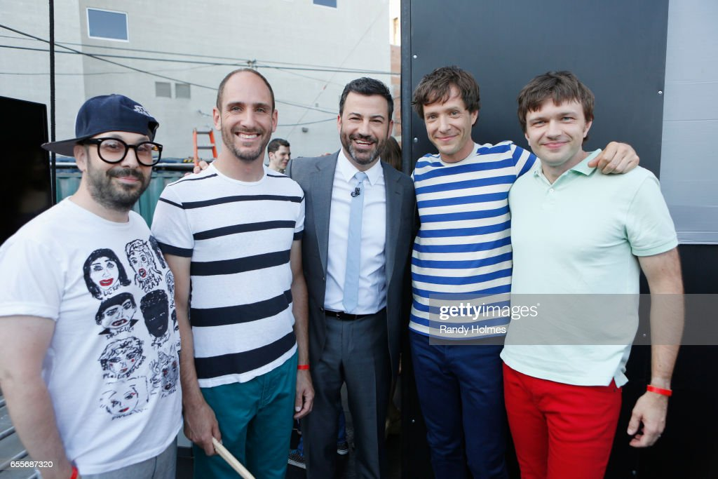 LIVE - 'Jimmy Kimmel Live' airs every weeknight at 11:35 p.m. EST and features a diverse lineup of guests that includes celebrities, athletes, musical acts, comedians and human-interest subjects, along with comedy bits and a house band. The guests for Monday, March 13 included Nick Viall and Vanessa Grimaldi (ABC's 'The Bachelor'), Milo Ventimiglia ('This Is Us') and musical guest mash-up performance OK Go-Go's (this is a mash-up of OK Go and The Go-Go's). OK