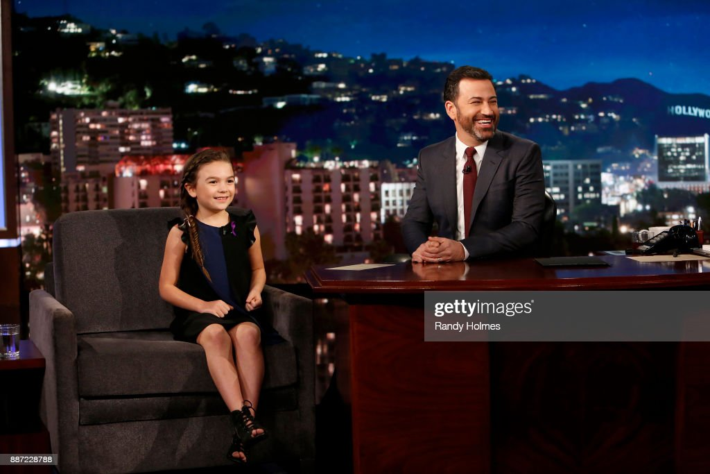 LIVE! - Jimmy Kimmel Live! airs every weeknight at 11:35 p.m. EST and features a diverse lineup of guests that includes celebrities, athletes, musical acts, comedians and human-interest subjects, along with comedy bits and a house band.The guests for Wednesday, November 29 included James Franco (The Disaster Artist), Brooklynn Prince (The Florida Project), and Musical Guest BTS. BROOKLYNN
