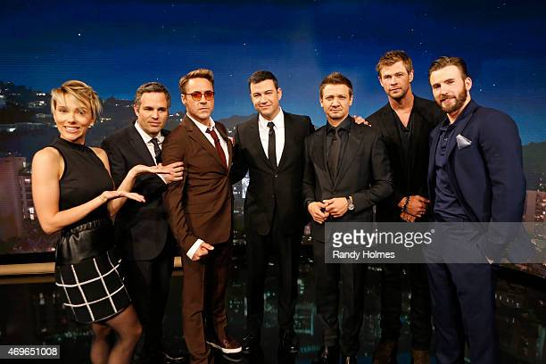 LIVE Jimmy Kimmel Live welcomed Robert Downey Jr Chris Hemsworth Mark Ruffalo Chris Evans Scarlett Johansson and Jeremy Renner from the cast of...