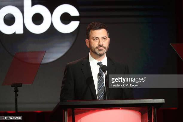 Jimmy Kimmel speaks during the ABC segment of the 2019 Winter Television Critics Association Press Tour at The Langham Huntington Pasadena on...
