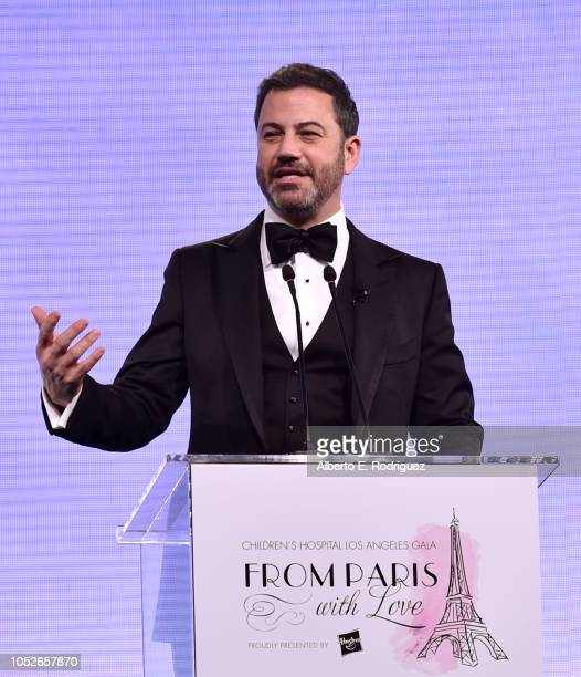 Jimmy Kimmel speaks onstage at the 2018 Children's Hospital Los Angeles 'From Paris With Love' Gala at LA Live on October 20 2018 in Los Angeles...