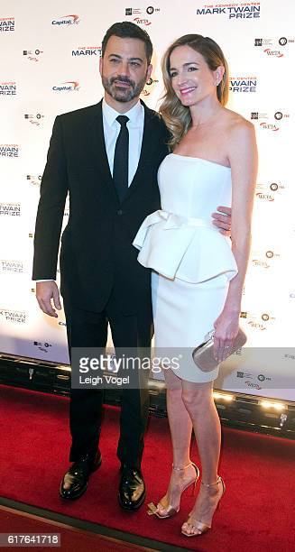 Jimmy Kimmell and Molly McNearney arrive at the Kennedy Center where Bill Murray will receive the 19th Annual Mark Twain Prize on October 23 2016 in...