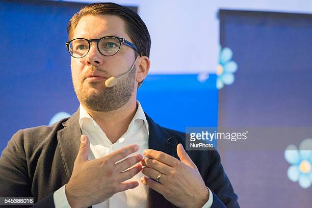 Jimmy Åksesson leader of the ultra nationalist Sweden Democrats currently Sweden's third largest party holds a press conference at Almedalen week in...
