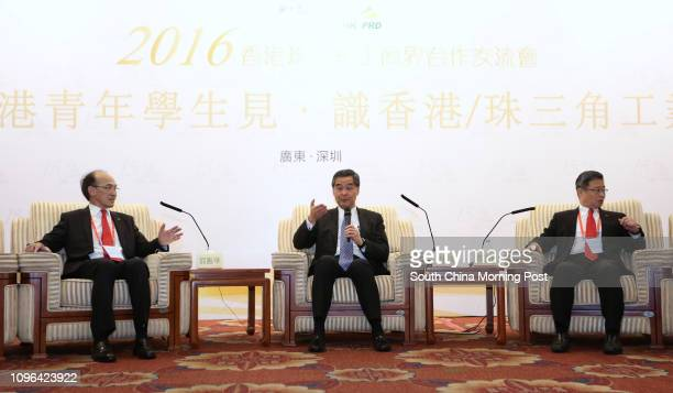 Jimmy Kwok Deputy Chairman of Federation of Hong Kong Industries cum PRD Council Chief Executive Leung Chunying and Professor Daniel Cheng Manchung...