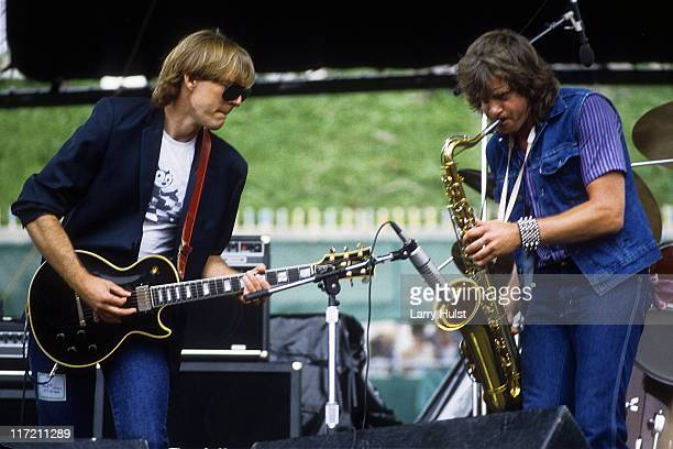Jimmy Lyon and Eddie Money playing in the 'Eddie Money band ' performing at Oakland Coliseum in Oakland California on July 30 1982